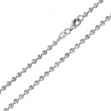 Wholesale Sterling Silver 925 Rhodium Plated Wave Design Diamond Cut Bead 050 Chains 3mm - CH104 RH