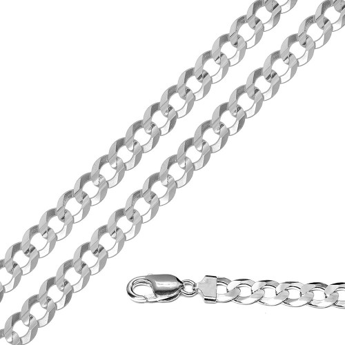 Wholesale Sterling Silver 925 Super Flat High Polished Curb 220 Chain and Bracelet 8.3mm - CH620