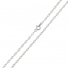 Wholesale Sterling Silver 925 Rhodium Plated Wide Oval Diamond Cut Link 025 Chain 2mm - CH119 RH
