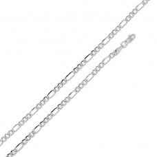 Wholesale Sterling Silver 925 Super Flat Figaro 080 Chain and Bracelet 2.9mm - CH604