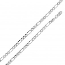 Wholesale Sterling Silver 925 Super Flat Figaro 120 Chain and Bracelet 4.6mm - CH606