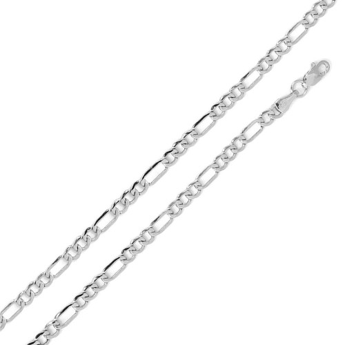 Wholesale Sterling Silver 925 Rhodium Plated Flat Light Weight Figaro 120 Chain 4mm - CH306 RH