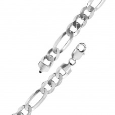 Wholesale Sterling Silver 925 High Polished Super Flat Figaro 220 Chain and Bracelet 8.7mm - CH609
