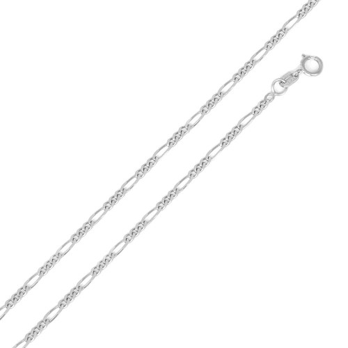 Wholesale Sterling Silver 925 Super Flat Figaro 050 Chain and Bracelet 1.7mm - CH602
