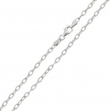 Wholesale Sterling Silver 925 Rhodium Plated Wire Oval Loop 060 Chain 2.8mm - CH240 RH