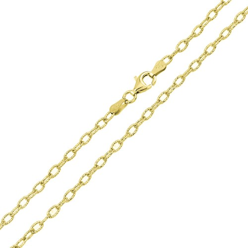 Wholeale Sterling Silver 925 Gold Plated Wire Oval Loop Chain 2.8mm - CH326 GP