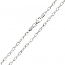 Wholesale Sterling Silver 925 Rhodium Plated Wire Oval Loop 080 Chain 3.7mm - CH241 RH