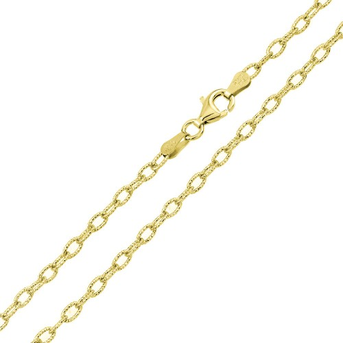 Wholesale Sterling Silver 925 Gold Plated Wire Oval Loop Chain 3.7mm - CH327 GP