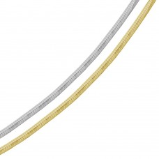 Wholesale Sterling Silver 925 2 Toned Reversible Flat Omega Chain 4mm - CH908 2T