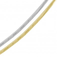 Wholesale Sterling Silver 925 2 Toned Reversible Flat Omega Chain 6mm - CH910 2T