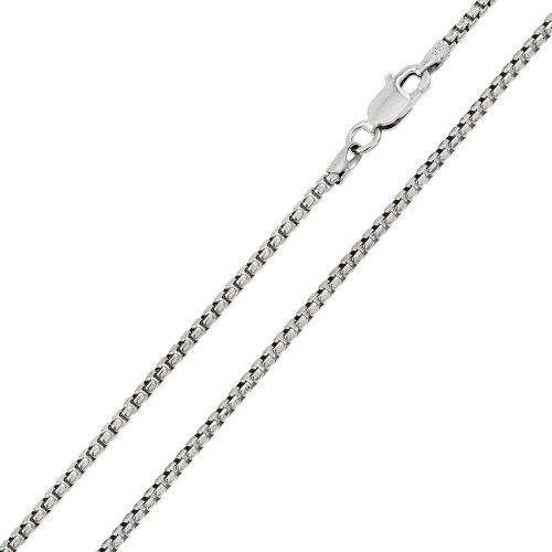 Wholesale Sterling Silver 925 Rhodium Plated Round Box 060 Chain 3.3mm - CH219 RH