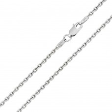 Wholesale Sterling Silver 925 Rhodium Plated Diamond Cut Cable Rolo 060 Chains 2mm - CH223 RH