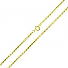 Wholesale Sterling Silver 925 Gold Plated Diamond Cut Cable Rolo Chains 0.9mm - CH332 GP