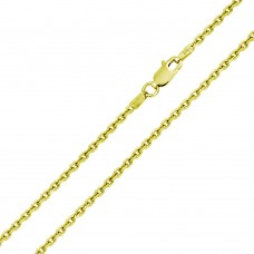 Wholesale Sterling Silver 925 Gold Plated Diamond Cut Cable Rolo Chains 1.6mm - CH334 GP