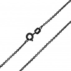 Wholesale Sterling Silver 925 Black Rhodium Plated Rolo Edge D/C 040 Chain - CH253 BLK