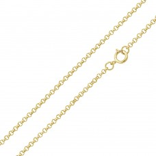 Wholesale Sterling Silver 925 Gold Plated Rolo Chain 1.6mm - CH366 GP