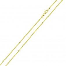 Wholesale Sterling Silver 925 Gold Plated Rolo Edge Cut Chain - CH335 GP