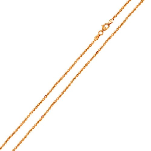 Wholesale Sterling Silver 925 Rose Gold Plated Diamond Cut Edge Rolo 040 Chains 1.3mm - CH162 RGP