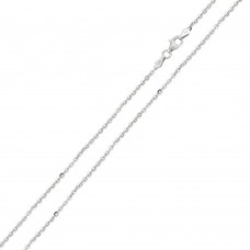 Wholesale Sterling Silver 925 Rhodium Plated Diamond Cut Edge Rolo 050 Chains 1.7mm - CH225 RH