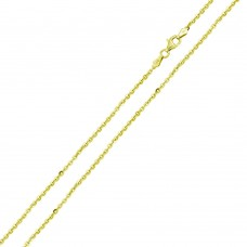 Wholesale Sterling Silver 925 Gold Plated Rolo Edge Cut Chain 1.8mm - CH336 GP
