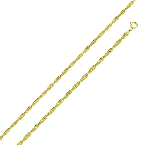 Wholesale Sterling Silver 925 Gold Plated Singapore 015 Chain 1mm - CH328 GP