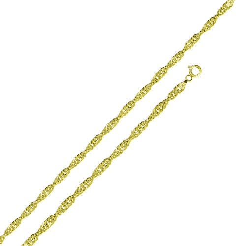 Wholesale Sterling Silver 925 Gold Plated Singapore 025 Chain 1.5mm - CH329 GP
