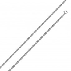 Wholesale Sterling Silver 925 Rhodium Plated Singapore 015 Chain 1mm - CH138 RH