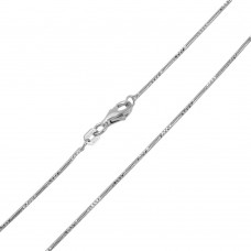 Wholesale Sterling Silver 925 Rhodium Plated Snake Round 025 4DC Chain 1mm - CH144 RH