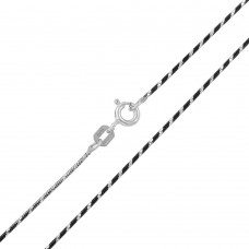 Wholesale Sterling Silver 925 Black Rhodium Plated Round B/W Snake 020 Chain with 1DC - CH258 BLK