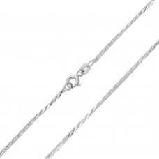 Wholesale Sterling Silver 925 Rhodium Plated Snake 4 Sided 025 DC Chain 1.4mm - CH141 RH