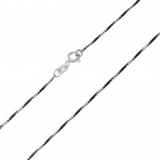 Wholesale Sterling Silver 925 Black Rhodium Plated Round B/W Snake 020 Chain with 4 DC - CH257 BLK