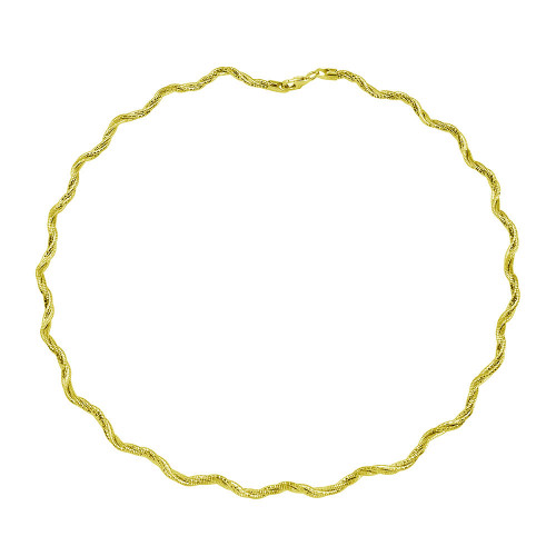Wholesale Sterling Silver 925 3 Layer Wave Omega Spring Chain Gold Plated 2.7mm - CH919 GP