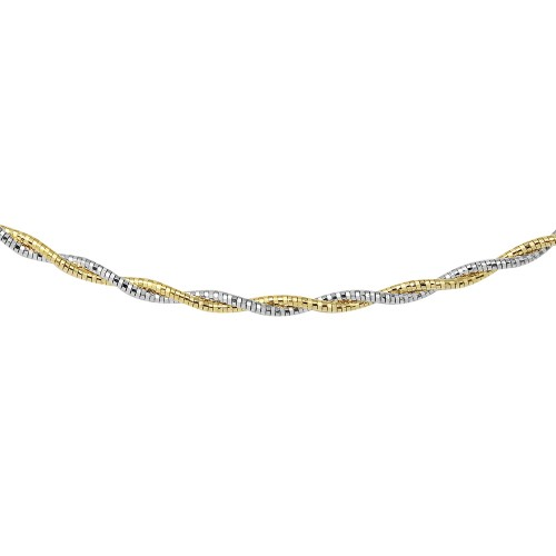 Wholesale Sterling Silver 925 2 Toned 2 Layer Omega Spring 180 Chain Rhodium and Gold Plated 2.7mm - CH904 GP