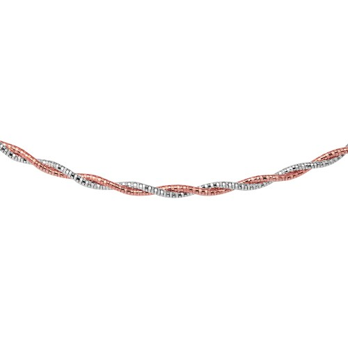 Wholesale Sterling Silver 925 2 Toned 2 Layer Omega Spring Chain Rhodium And Rose Gold Plated 2.7mm - CH905 RGP