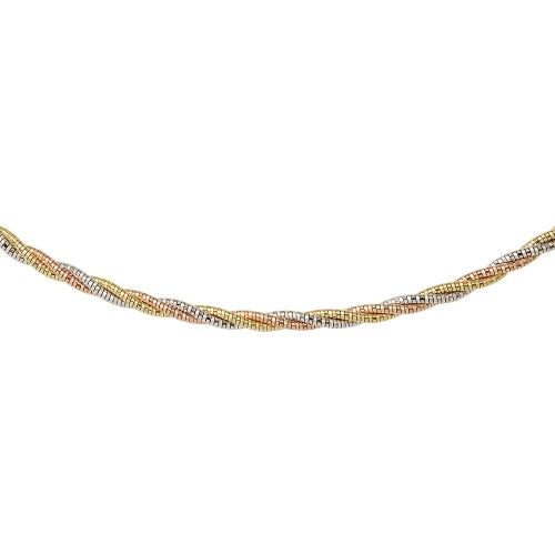 Wholesale Sterling Silver 925 3 Layer Twisted Omega Spring Chain 3 Toned Plated 3mm - CH914 MUL