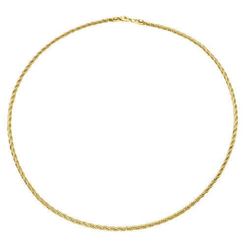 Wholesale Sterling Silver 925 3 Layer Twisted Omega Spring Chain Gold Plated 3mm - CH912 GP