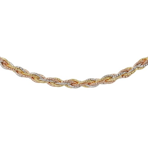 Wholesale Sterling Silver 925 6 Layer Twisted Omega Spring Chain 3 Toned Plated 5.5mm - CH917A MUL