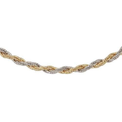 Wholesale Sterling Silver 925 6 Layer Twisted Omega Spring Chain Gold And Rhodium Plated 5.5mm - CH916 GP