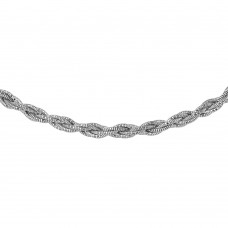 Wholesale Sterling Silver 925 6 Layer Twisted Omega Spring Chain Rhodium Plated 5.5mm - CH915 RH