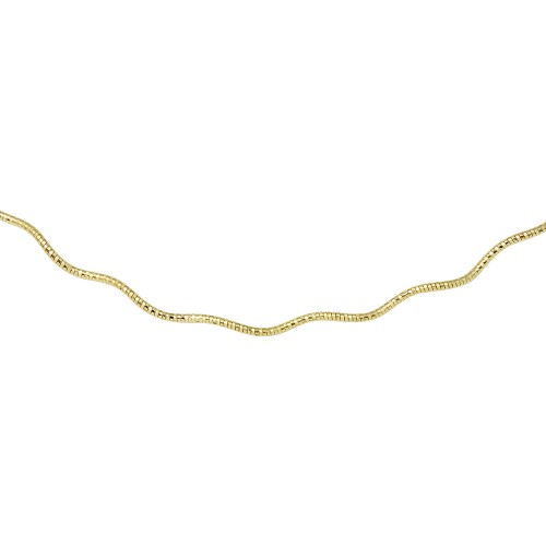 Wholesale Sterling Silver 925 1 Layer Wave Omega Spring Chain Gold Plated 1.3mm - CH923 GP