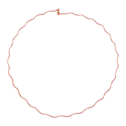 Wholesale Sterling Silver 925 1 Layer Wave Omega Spring Chain Rose Gold Plated 1.3mm - CH924 RGP