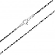 Wholesale Sterling Silver 925 Black Rhodium Plated Tube 2 Brite Close FT B/W 030 Chain - CH255 BLK