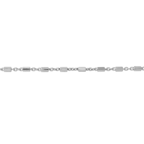 Wholesale Sterling Silver 925 Rhodium Plated Tube 8 Sided DC Tube Chain 1.3mm - CH310 RH