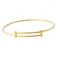 Wholesale Sterling Silver 925 Gold Plated Adjustable Bangle Bracelet - DIB00003GP