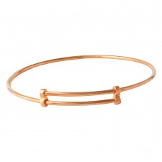 Wholesale Sterling Silver 925 Rose Gold Plated Adjustable Bangle Bracelet - DIB00003RGP