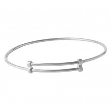 Wholesale Sterling Silver 925 Rhodium Plated Adjustable Bangle Bracelet - DIB00003RH