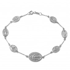 Wholesale Sterling Silver 925 Rhodium Plated Religious Medallion Charm Bracelet - DIB00008RH