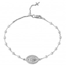 Wholesale Sterling Silver 925 Rhodium Plated Rosary Bracelet - DIB00009RH