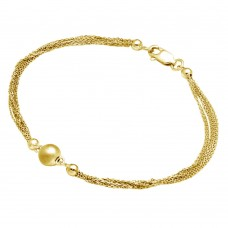 Wholesale Sterling Silver 925 Gold Plated Multi Stand Beaded Bracelet - DIB00012GP