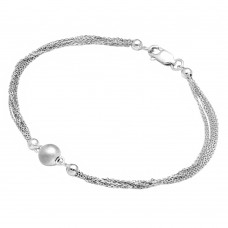 Wholesale Sterling Silver 925 Rhodium Plated Multi Stand Beaded Bracelet - DIB00012RH